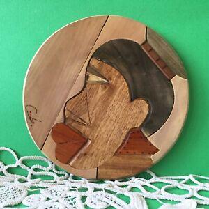Vintage Wooden Round Trivet Handmade Cuba