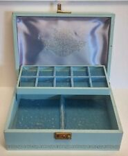 Vintage Mele Aqua & Gold Leather Purple Satin & Powder Blue Velvet Jewelry Box