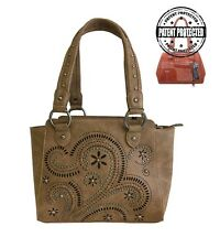 Montana West Ladies Concealed Gun Carry Purse Handbag Swirl Cutouts Design Brown