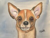 Original oil painting artwork sweet chihuahua dog 11 x 14 signed canvas