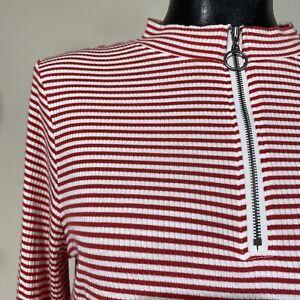 L/XL Womans Vintage Candy Stripe Red Zip Mock Neck Top