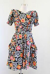Vtg 50s 60s Western Fashions Floral Ruffle Dress Size S Square Dance Retro