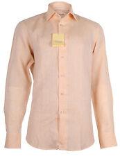 Pal Zileri Sartoriale Men's Peach Linen Shirt Regular Fit, size 41,43,44