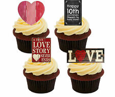 10th Anniversary Edible Cupcake Toppers, Standup Fairy Cake Decorations Shabby