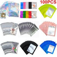 100X Smell Proof Zip Seal Mylar Bags Aluminum Foil Resealable Zip Lock Bag Fresh