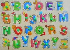 Children Wooden Board Peg Puzzle Jigsaw Alphabet Baby Kid Educational Toys