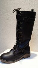 Low (3/4 in. to 1 1/2 in.) Med BROWN KNEE HIGH FRONT LACE UP WINTER SNOW BOOTS 8