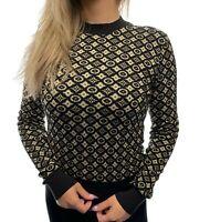 Authentic LOUIS VUITTON Monogram Logo Sweater #XS Cashmere Silk Black Rank AB
