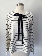 NWT J Crew Velvet Tie-front In Stripe Top Shirt Blouse Size XL Ivory Black H3676