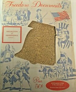 Declaration of Independence Freedom Document July 4th 1776 Independence Day VTG
