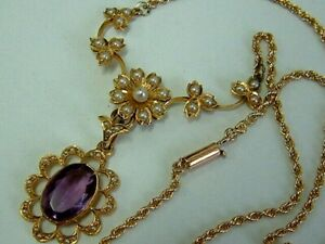 VICTORIAN ANTIQUE 15CT GOLD LAVALIERE NECKLET WITH AMETHYST AND SEED PEARLS