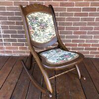 Vintage Antique Folding Wooden Rocking Chair Carved Floral Tapestry Design 1900s