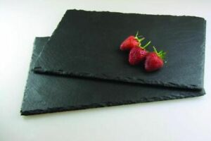 Set of 2 Rectangular Slate Placemat Black great for Dinner Parties