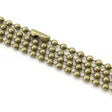 "10 Pk 24"" Ball Chain Necklaces - Antique Bronze Color - 3.2mm Dog Tag"