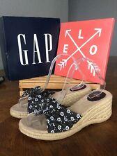 Gap Black/White Floral Print Cotton Platform Espadrille Wedges Size 8 PreOwned