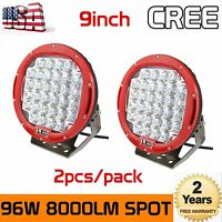 2X 9inch 96W CREE LED Driving Light Round Spotlight Offroad SUV Motor Red Lamp