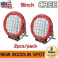 2X 9inch 96W Round Cree LED Driving Spot Lights UTV TRUCK 4x4 OffRoad Watts Red