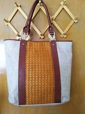 CARMEN MARC VALVO Gold Cognac Large North South Shoulder / Tote Bag
