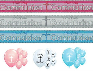 COMMUNION BANNERS 1ST HOLY COMMUNION DECORATIONS PINK BLUE SILVER BOY/GIRL (PA)