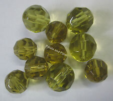 10 Olive Glass Faceted Beads 12mm & 8mm Bead For Beading & Jewellery TAR047