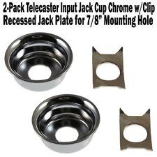 2-Pack Telecaster Input Jack Cup Chrome Ferrule Plate Fender Tele Guitar w/Clip