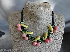 COLLIER EN CERAMIQUE TERRE CUITE FRUIT CERISE ROSE JAUNE VERT CHERRY NECKLACE