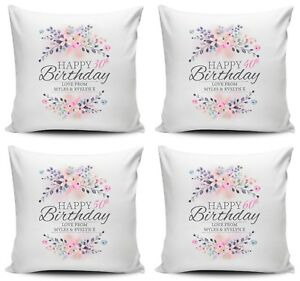 Personalised Floral Happy Birthday Novelty Cushion Cover