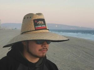 Wide Brim Straw Summer HAT California Republic Red Sombrero BEACH LIFEGUARD