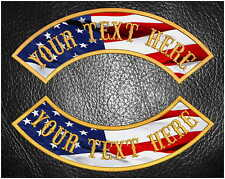 """CUSTOM EMBROIDERED 13"""" USA FLAG #1 MC ROCKER PATCH TOP OR BOTTOM MOTORCYCLE VEST"""