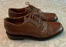 JOHNSTON & MURPHY PASSPORT CAP TOE OXFORD SHOES BROWN WOVEN LEATHER ITALY 8.5