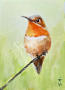 """Bird art print Cardinal ACEO Limited Edition 2.5/""""x3.5/""""-Tranquility"""