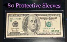 80 SEMI-RIGID Vinyl Money Protector Sleeves US Dollar Bill CURRENCY HOLDERS BCW