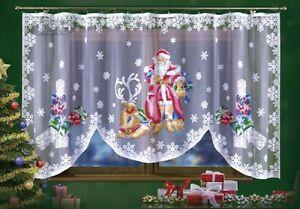 CHRISTMAS PAINTED SANTA WINDOWS SEASONAL DECORATION NET CURTAIN 300cmx150cm