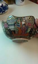 Antique Oriental Porcelain Bowl Famille Rose Scalloped Edge Gold Trim w/Phesants
