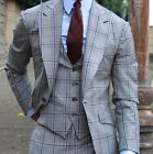 British Style Suits For Men Formal Occasion Wear Wide Lapel Windowpane Tuxedos