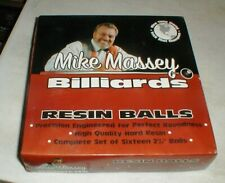 """NEW Mike Massey Billiards Hard Resin Pool Balls in Box Complete Set 2 1/4"""""""