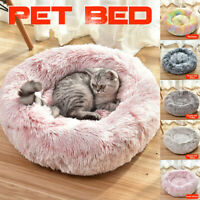 Pet Bed Fluffy Luxe Soft Plush Round Cat Dog Warm Bed Donut Cushion  ,