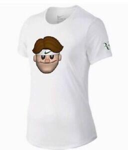 Women's Nike RF Roger Federer White Emoji Face T-Shirt Tennis Open 889152-100