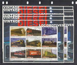 Trains Locomotives Transport 2002 Somalia MNH 9 v M/s 2 perf  X 10 Wholesale lot