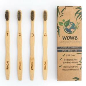 Wowe Natural Bamboo Toothbrush Individually Numbered Charcoal Infused 4 Pack