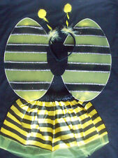Girls Fancy Dress BUMBLE BEE COSTUME TUTU WINGS BOPPERS satin Age 2 3 4 5 6 7 8