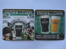 Beer Coaster <> GUINNESS & HARP ~ Unlock the Gates <> Celebrate St Patrick's Day