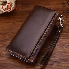 Men Oil Wax Vintage Leather Handmade Day Clutch Wallet Wristlet Phone Purse