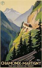 CHAMONIX MARTIGNY - VINTAGE TRAVEL POSTER 24x36 - BRODERS ART 36136