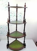 Vintage corner Leather whatnot 5shelves tiers tall plant ornament display stand