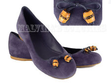 $425 GUCCI SHOES BALLET FLATS SUEDE LEATHER BAMBOO BOW 39.5G US 9.5