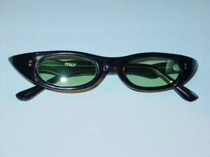 VINTAGE DEVO STYLE PUNK GREEN LENS SUNGLASSES 1980's MADE IN ITALY NOS Black B-1