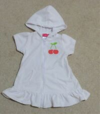 Baby Girls White Swimsuit Cover Up with Hood Cherries 12 Months Euc