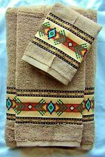 Southwest/Western Decor Towel Set, 3 pc Mocha,Custom Southwest Aztec Border
