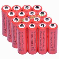 16x AA 2A 3000mAh 1.2V Ni-Mh Red Color Rechargeable Battery Alarm Clock MP3 RC